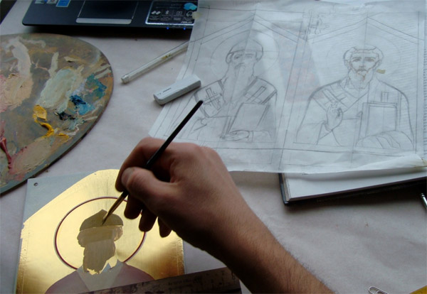 Icon painting. PKK Minium composition application